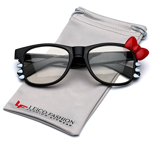 Hello Kitty Bow Women's Fashion Clear Lens Glasses with Bow and Whiskers - Black with Red - Hello Fashion Kitty Glasses