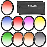 Neewer 58MM Complete Graduated Color Lens Filter Set (9pcs) for Camera Lens with 58MM Filter Thread - Includes: Red, Orange, Blue, Yellow, Green, Brown, Purple, Pink and Gray ND Filters + Filter Carry Pounch + Microfiber Lens Cleaning Cloth
