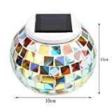 Solar Powered Mosaic Glass Ball Garden Lights, Color Changing Night Light Rechargeable Table Lamps Waterproof Indoor or Outdoor Lighting for Decoration by Dream Loom (Colorful)
