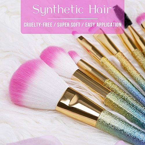 Docolor Makeup Brushes,10Pcs Fantasy Make Up Brushes Face Powder Foundation Blending Blush Concealer Eye Shadow Cosmetics Brushes with Rainbow Box