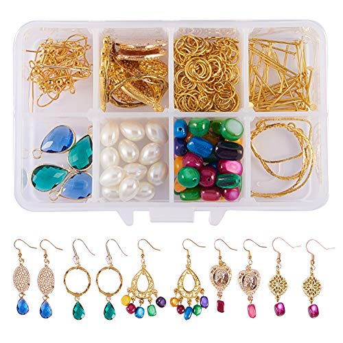 Drop Earrings Kit - SUNNYCLUE 1 Box DIY 6 Pairs Chandelier Bohemian Drop Earrings Making Kits Include Shell Gemstone Drop Beads, Chandelier Earring Loops Connectors Charms, Earring Hooks and Jewelry Findings, Instruction