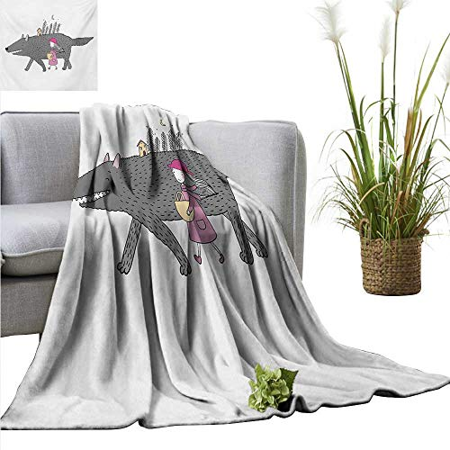 AndyTours Baby Blanket Fantasy,Girl in a Pink Dress Walking with a Giant Wolf Fir Forest and a Small House,Pink Grey Peach Super Soft Light Weight Cozy Warm Plush Hypoallergenic Blanket 60