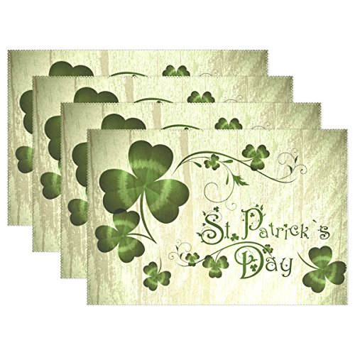 ALAZA Vintage St Patrick Day Shamrocks Placemat Plate Holder Set of 4, Polyester Table Place Mats Protector for Kitchen Dining Room 12