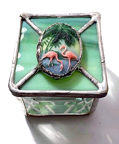 - Rare, Vintage Flamingo Cameo Jewelry Box