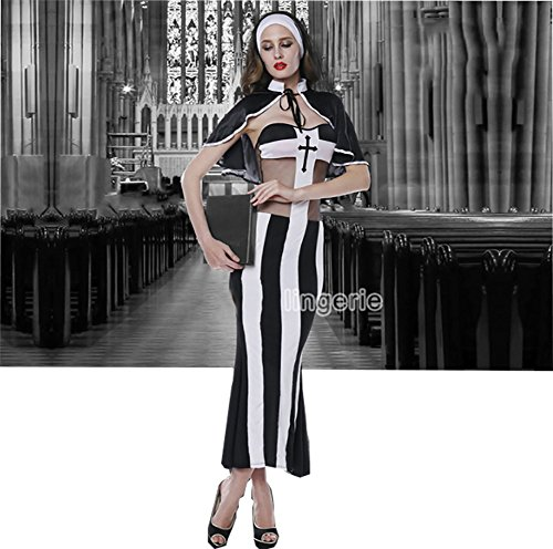 Naughty Nun Plus Size Costumes (Sweetichic Women's Nun Costume Halloween Cospaly Stripe Free size)