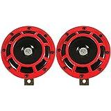 SODIAL(R) 060890A2 Klaxon Grille De Klaxon De Voiture Klaxon De Supertone (Paire) 12V 139Db Rouge