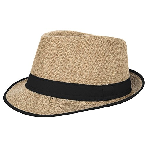 Aerusi Men's Summer Short Brim Straw Fedora Trilby Sun Hat with Black Band