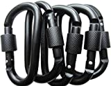 LeBeila Aluminum Carabiner Heavy Duty Climbing Hooks D Shape Buckle Pack Spring Snap Keychain Clip with Screwgate Locking-Outdoor Camping D-ring Carabiners Hook (Black-5PCS)
