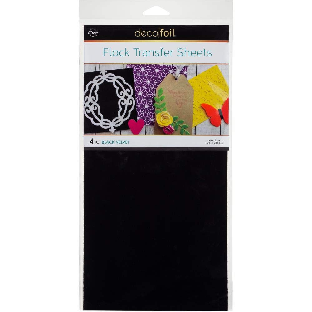 Purple and Black Flock 5 Items Flock Transfer Sheets and Foam Adhesive Bundle Deco Foil Blue Cool Tones Green