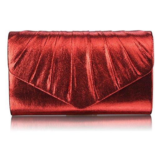 TrendStar - Cartera de mano mujer Red Mettalic Clutch Bag