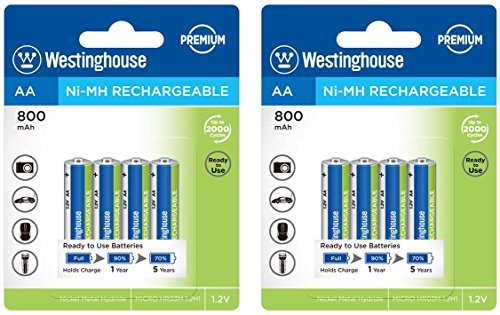 (8pc Westinghouse Pre Charged Always Ready AA 1.2 Volt 800mAh Ni-Mh Rechargeable Battery for Solar Garden Lights)