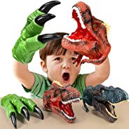 Geyiie Dinosaur Hand Puppet Toys, Soft Rubber Dinosaur Claws and Head, Animal Realistic Dino Glove Puppets for