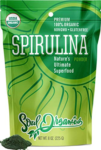 Soul Organics Spirulina Powder - USDA Organic Certified - Premium Blue Green Algae Powder for Natural Energy and Nutrition