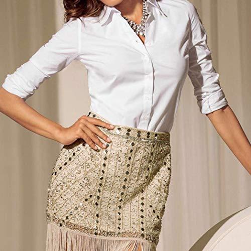 Blanc Slim Chemisier Elgante Tops Fashion Office Revers Casual Printemps Affaires Simple Boutonnage Femme Unicolore Manches Longues Blouse Blouse Classique Automne Fit Shirt Chemise Fille 6grqgIx