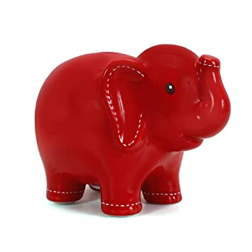Child to Cherish Ceramic Stitched Elephant Piggy Bank Multicolored