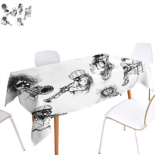 ic Decor Washable Tablecloth Sketch Image of Jazz Players Playing Instruments Trumpet and Saxophone Music Decor Waterproof Tablecloths 60