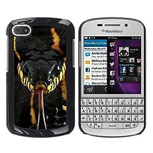 Veneno de Serpiente Venenosa Negro Amarillo- Metal de aluminio y de plástico duro Caja del teléfono - Negro - BlackBerry Q10