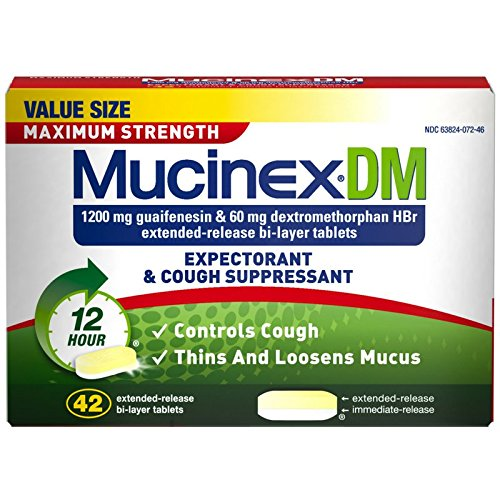 Mucinex DM Maximum Strength 12-Hour Expectorant and Cough Suppressant Tablets, 42 ct (Pack of 5) by Mucinex