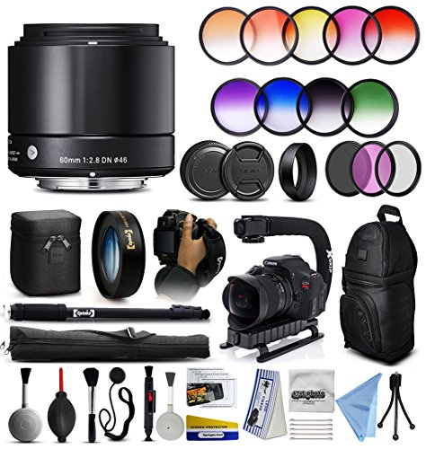 """Price comparison product image Sigma 60mm F2.8 DN Art Black Lens for Panasonic / Olympus Micro Four Thirds (350963) + 12 Piece Filter Kit + 10x Macro Diopter + Stabilizer Grip + Backpack + 67"""" Monopod + Lens Brush + + More"""