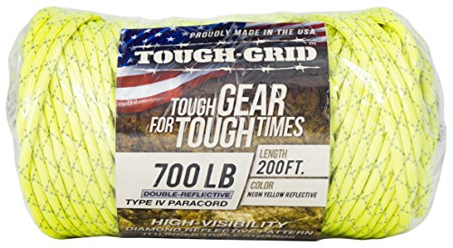 TOUGH-GRID New 700lb Double-Reflective Paracord/Parachute Cord - 2 Vibrant Retro-Reflective Strands for The Ultimate High-Visibility Cord - 100% Nylon - Made in USA - 200Ft. Neon Yellow Reflective by TOUGH-GRID (Image #4)
