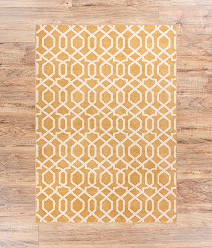 Zipper Helix Yellow Geometric Lattice Modern Contemporary Casual Area Rug 2x4 ( 2'3