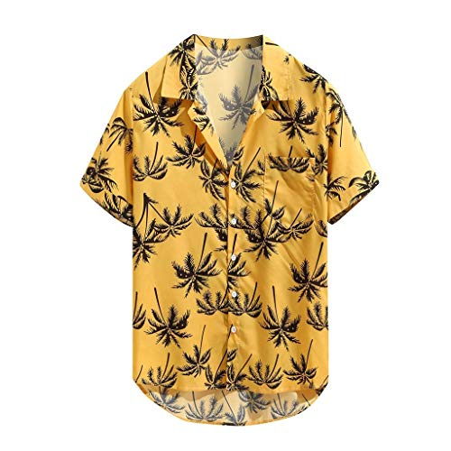 - Beautyfine Mens Printed Hawaiian Casual Short Sleeve Shirt Loose Beachwear Buttons T-Shirts Tops