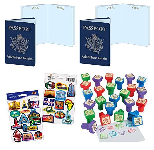 William & Douglas Travel Theme Party Favors Bundle   Around The World Passports, Passport Stickers & Passport -