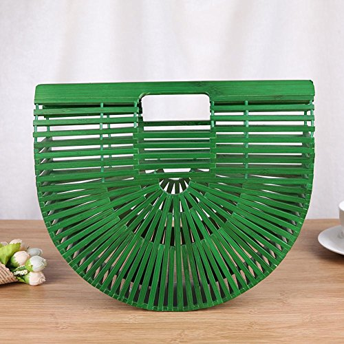 Round Bamboo Wood Casual Basket Bag Handbag Half 3 Aediea Tote Shopping Beach Women qpnWtSSI