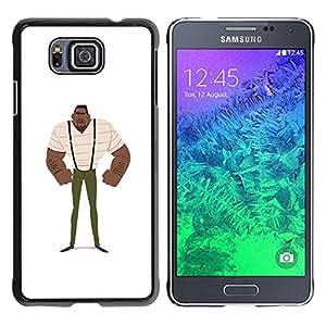 GOODTHINGS Funda Imagen Diseño Carcasa Tapa Trasera Negro Cover Skin Case para Samsung GALAXY ALPHA G850 - hombre muscular arte fuerte negro tirantes de pintura