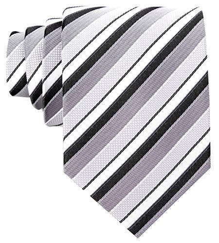 (Striped Ties for Men - Woven Necktie - Black)