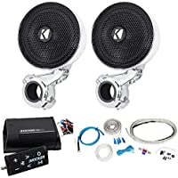 Package: (Pair)Kicker 40PSM34 PSM3 Waterproof Motorcycle+ATV Handlebar Speakers+Kicker 40PXIBT502 Motorcycle+ATV 2-Channel Bluetooth Amp+Remote+8Gauge Waterproof Marine/Boat Amp Wire Installation Kit