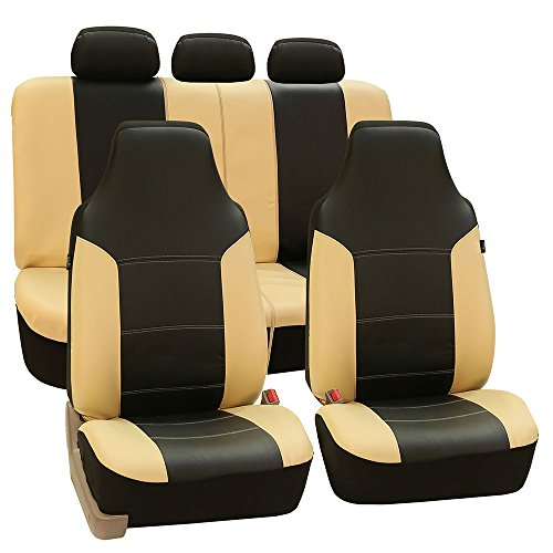 FH Group Universal Fit Full Set High Back Royal Seat Cover - PU Leather (Beige/Black) (Airbag Compatible and Rear Split, Fit Most Car, Truck, SUV, or Van, ()