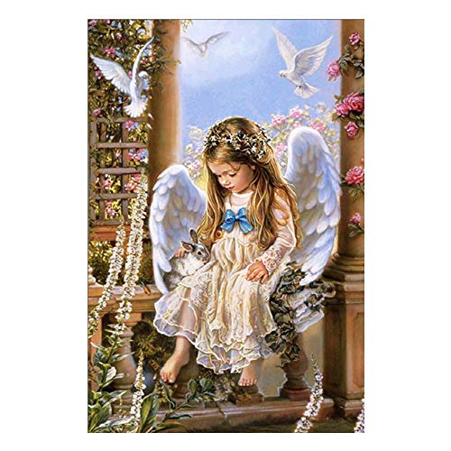 (TTKJ DIY 5D Diamond Painting Christmas Little Girl Angel Cross Embroidered Stickers Wall Decoration)