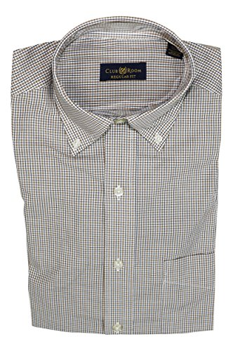 Club Room Wrinkle Resistant Small Grid Check Button Down Dress Shirt (14.5 32-33, Tan)