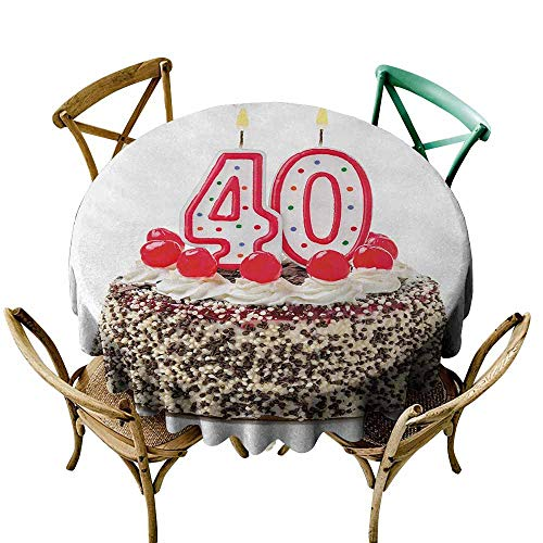 Party Table Cover 40th Birthday,Yummy Desert Sweet Party Cake Burning Number Candles and Cherries Delicious,Multicolor,for Bistro Table ()