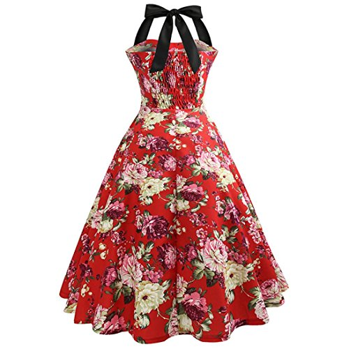 Fami Style Vestito Retro Swing Print donna Women Printed Floral Casual Bodycon Prom Rosso Dress Cocktail Hepburn 1 Halter Sleeveless da Dress Slim wqIYEw