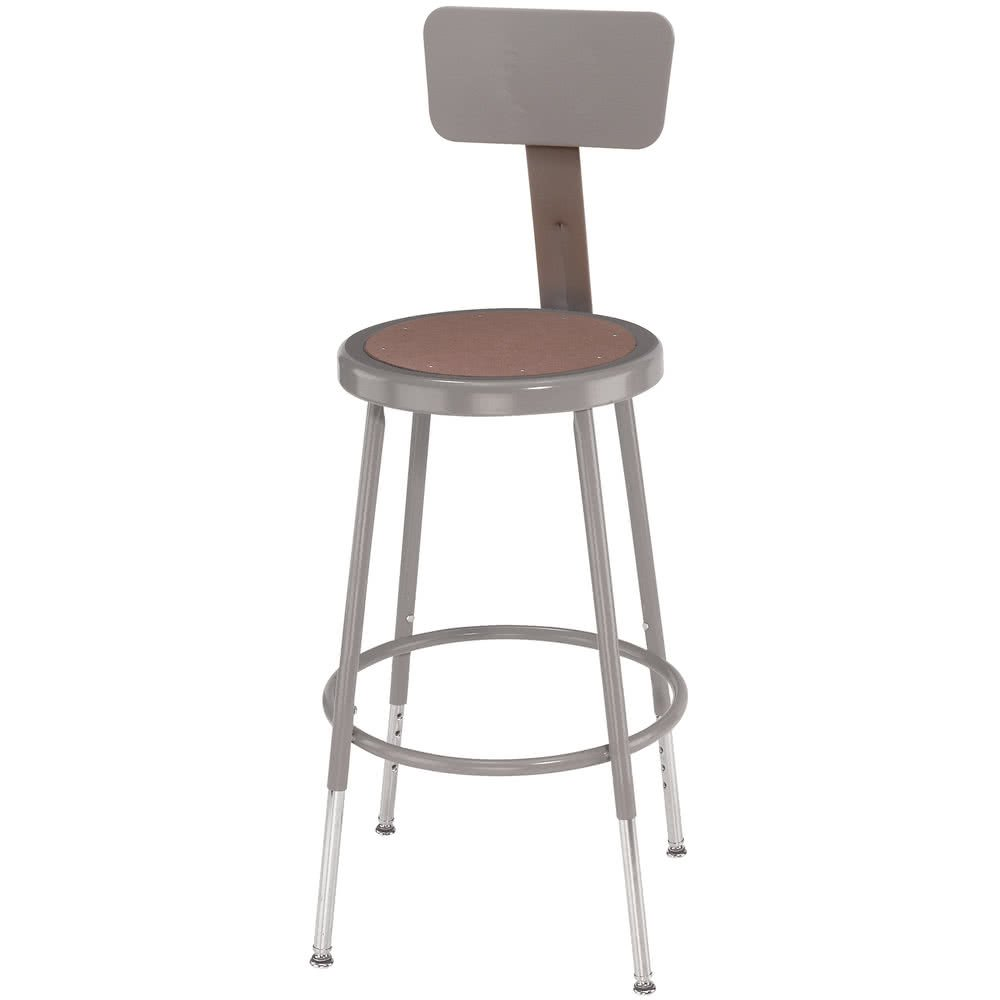 TableTop king Seating 6224HB 25'' - 33'' Gray Adjustable Round Hardboard Lab Stool with Adjustable Backrest