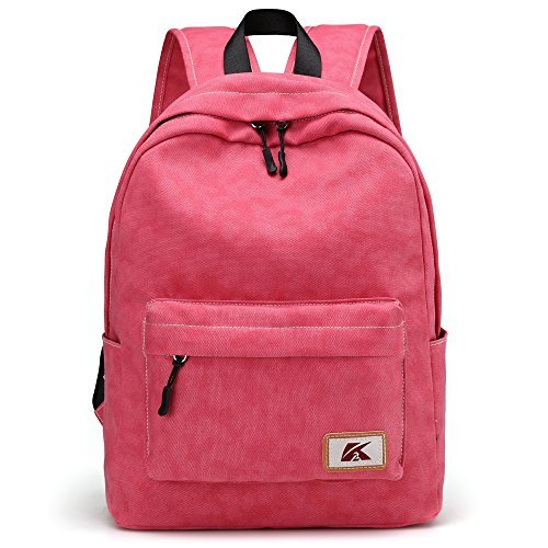 Hiigoo Satchels Canvas Shoulders Bags Casual Backpack Bag Cute Daypack For Students (Red) [並行輸入品]   B078WWHDQ8