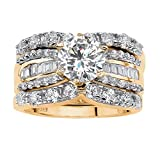 18K Yellow Gold over Sterling Silver Round and Baguette Cubic Zirconia Bridal Ring Set Size 8