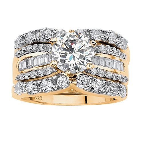 (18K Yellow Gold over Sterling Silver Round and Baguette Cubic Zirconia Bridal Ring Set Size 8)
