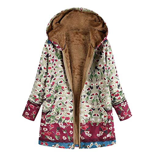 Clearance! Mnyycxen Women's Cotton and Linen National Wind Vintage Print Plus Velvet Plus Size Hooded Coat Outwear With Pockets (XL, Green)