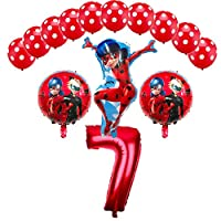 CuteTrees Ladybug 7th Birthday Balloons Set Party Decorations with ladybug balloon and latex balloons 14 pcs