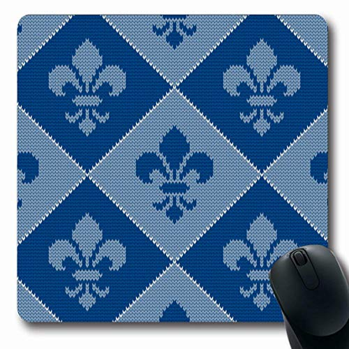 Ahawoso Mousepads for Computers Blue Jacquard Fleur De Lis Abstract Homemade Classic Classical Craft Fancywork Design Medieval Oblong Shape 7.9 x 9.5 Inches Non-Slip Oblong Gaming Mouse Pad
