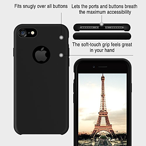 TORRAS [Love Series] iPhone 7 Case/iPhone 8 Case, Liquid Silicone Gel Rubber Shockproof Case Soft Microfiber Cloth Lining Cushion Compatible iPhone 7 / iPhone 8, Black by TORRAS (Image #1)