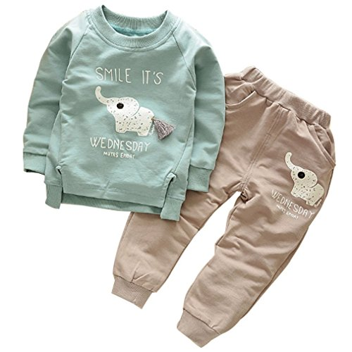 Ancia 2017 Baby Boys Kids 2 Pieces Clothes Set T-Shirt Pants Outfits(Elephant Green,2-3 Years) -