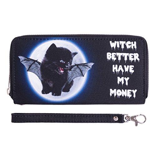 Portafoglio moda per Holder Uomo Donna Cash cerniera carta della borsa Witch Kitty [050]