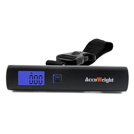Accuweight Básculas de Maletas para Equipaje/Balanza LCD Ergonómica de Equipaje 50g/50Kg para