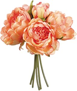 Floral Supply Online - Artificial Silk Peony Bouquet for Floral Arrangements, Weddings, and Home Decor. (Coral)