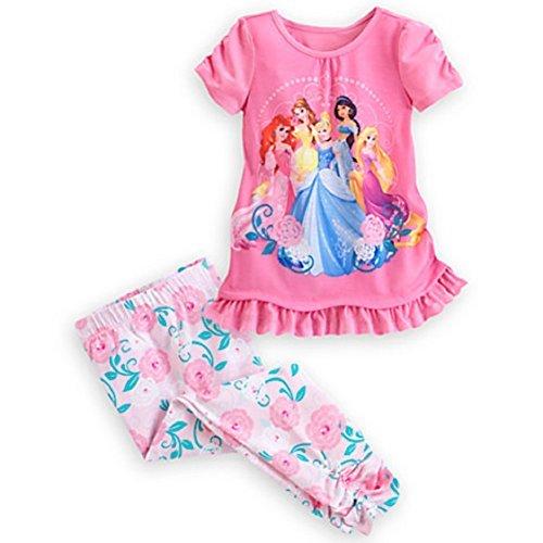 Disney Store Princess Pj (Disney Store Princess PJ's Jasmine Belle Ariel Short Sleeve 2 Piece Pajamas Size 6)