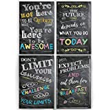 teen wall decor Motivational Inspirational Wall Art Classroom Posters Decorations - Multicolor Chalkboard Positive Quotes, Perfect for Office, Kids Room or Bathroom Art. Perfect Inspirational Gift! Set of 4 11x17in